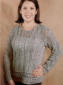 Lacy Aran Pullover in Knit One Crochet Too 2nd Time Cotton - 1124