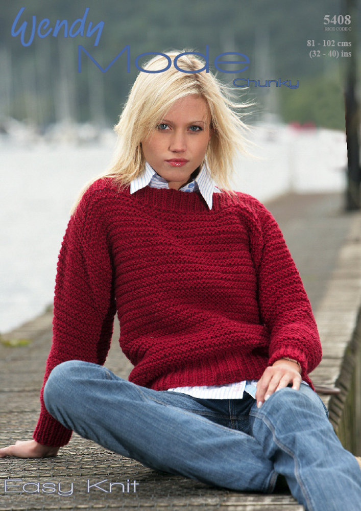 Easy Knit Sweater In Wendy Mode Chunky Knitting Patterns