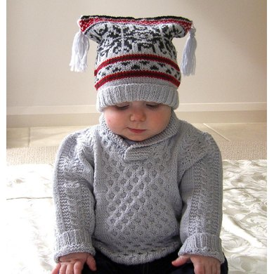 Baby Sweater with Cables & Shawl Collar, plus Fair Isle Hat and Boots