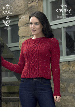 Long and Short Sweaters in King Cole Chunky Tweed - 4040