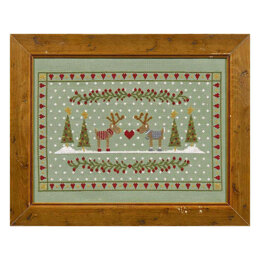 Historical Sampler Company Reindeers in Love Cross Stitch Kit - 33cm x 22cm