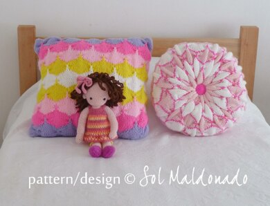 Knit Pillow Square Round Cushions Bundle Knitting Pattern By Sol
