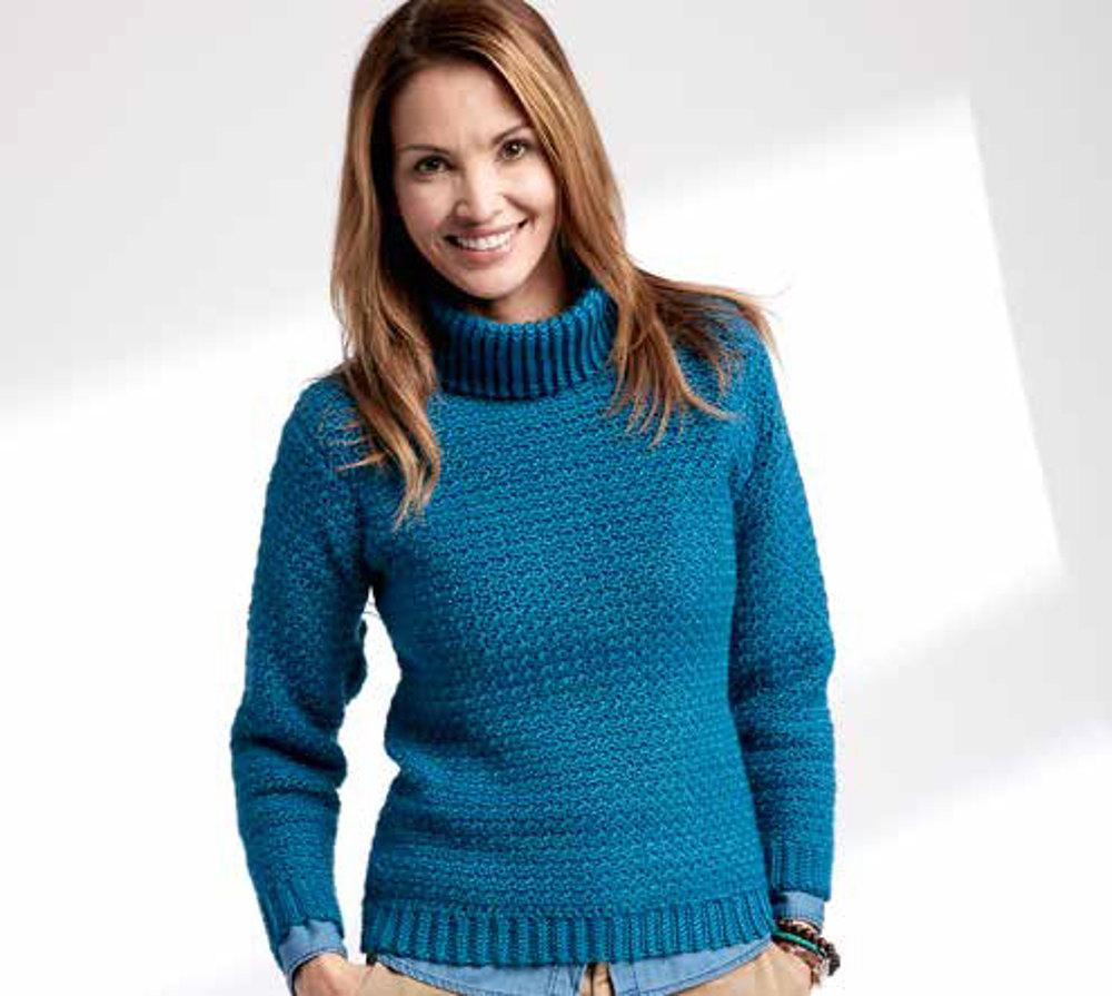 Adult S Crochet Turtleneck Pullover In Caron Simply Soft
