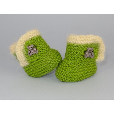 Baby Fur Trim Teddy Button Booties (Bootees)