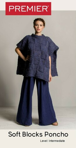 Soft Blocks Poncho - Denim Tweed in Premier Yarns Mega Tweed - Downloadable PDF