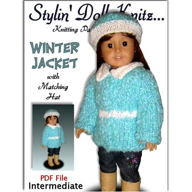 Pdf doll clothes knitting pattern, fits 18 inch and American Girl dolls. Winter Jacket and matching Hat.
