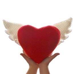 Winged Heart. Decorative Cushion. Valentine Crochet Heart. Angel Wings. Love Heart