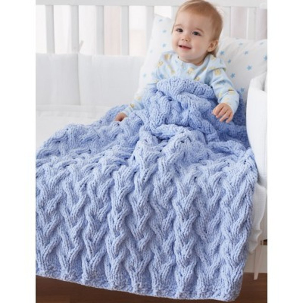 Shadow Cable Baby Blanket In Bernat Big Ball