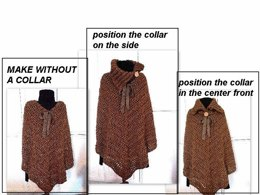 735 cowl neck poncho, cape, shawl, all adult sizes