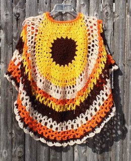 Sunflower Crochet Poncho Unbalanced Asymmetric