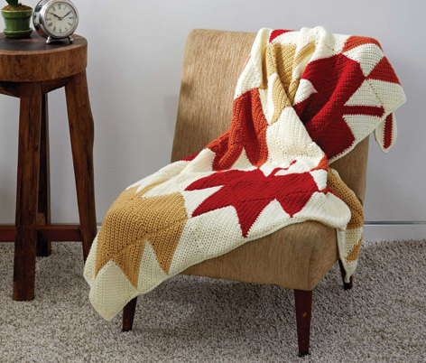 Autumn Leaves Afghan in Caron Simply Soft and Simply Soft Collection - Downloadable PDF