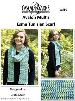 Esme Tunisian Scarf in Cascade Avalon Multis - W580