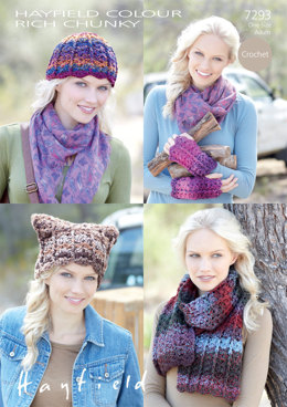 Hats, Scarf and Wristwarmers in Hayfield Colour Rich Chunky - 7293