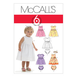 McCall's Infants' Lined Dresses, Panties And Headband M6015 - Sewing Pattern