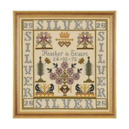 Historical Sampler Company Silver Anniversary Sampler Cross Stitch Kit - 16ct Aida - 28cm x 27cm