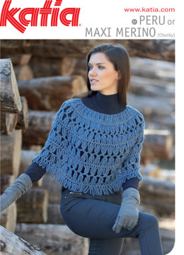 Ladies Hairpin Lace Crochet Poncho - 27