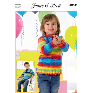 Kids Sweaters in James C. Brett Party Time Chunky - JB341 - Leaflet