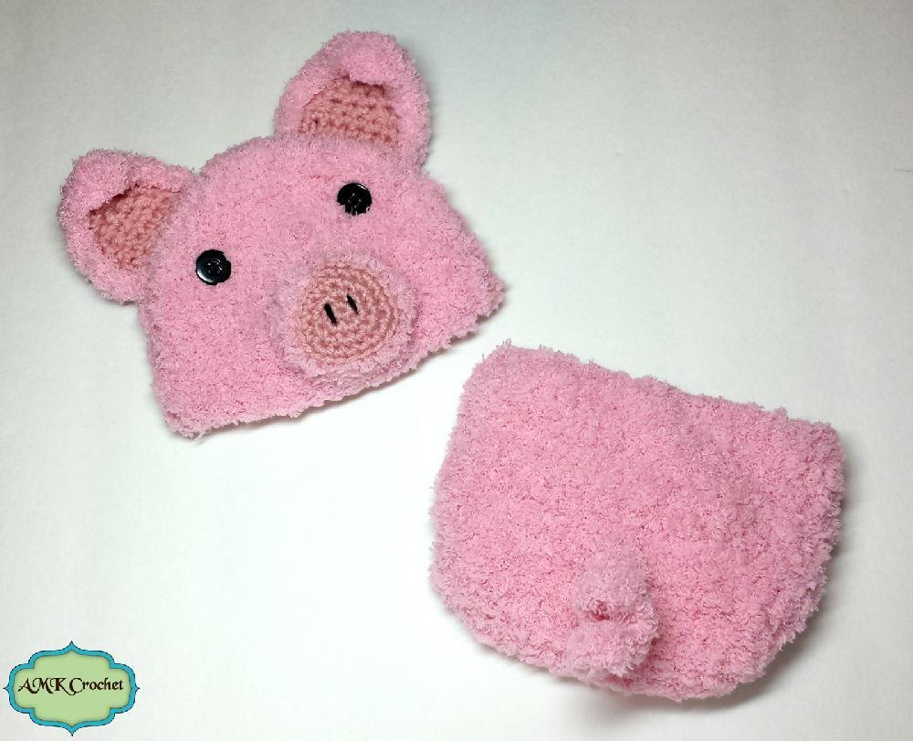 Newborn Pig Hat And Diaper Cover Set Crochet Pattern By Amk Crochet