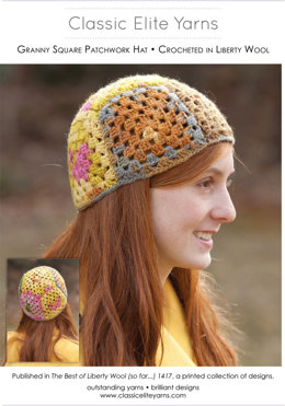 Granny Square Patchwork Hat in Classic Elite Yarns Liberty Wool Prints - Downloadable PDF
