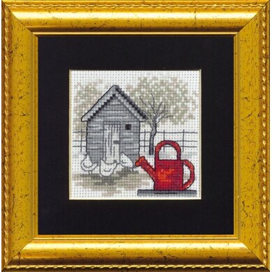 Permin Red Watering Can Cross Stitch Kit - 11cm x 11cm