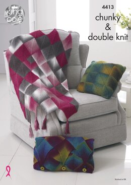 Throw & Cushions in King Cole Chunky and DK - 4413 - Downloadable PDF