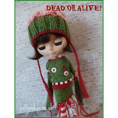 "Dead or Alive Zombie dress and Brains hat for 12"" Blythe doll"