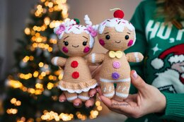 Crochet Gingerbread man and girl couple