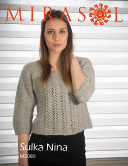 Lace and Seed Stitch Short Sweater in Mirasol Nina - M5080