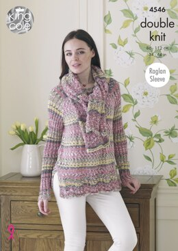 Jacket, Sweater & Scarf in King Cole Drifter DK - 4546