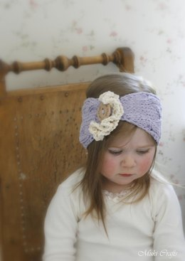 Cable headband Bianca with ruffles
