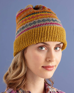 Glamorous Fair Isle Hat in Lion Brand Vanna's Glamour - L0733