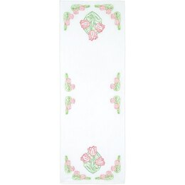 Jack Dempsey Stamped Table Runner Scarf - Tulips - 15in x 42in