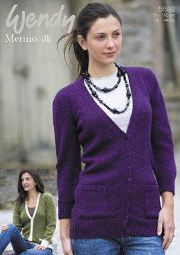 Boyfriend Cardigan with Long or 3/4 Length Sleeves in Wendy Merino DK - 5592