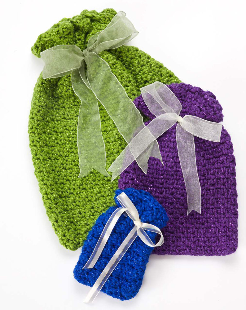 Crochet Gift Bags In Caron Simply Soft Party Downloadable Pdf