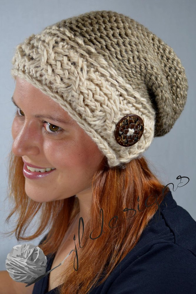 Cable Brimmed Slouch Hat Loom Knitting Pattern By Joanna