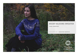 """Night Blooms Sweater by Sachiko Burgin"" - Sweater Knitting Pattern For Women in The Yarn Collective"