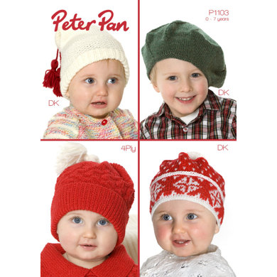 Hats in Peter Pan DK and 4 Ply - P1103