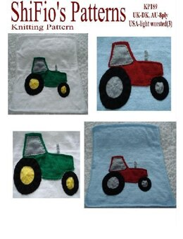 Knitting Pattern Tractor Baby Blanket Afghan UK & USA Terms #189