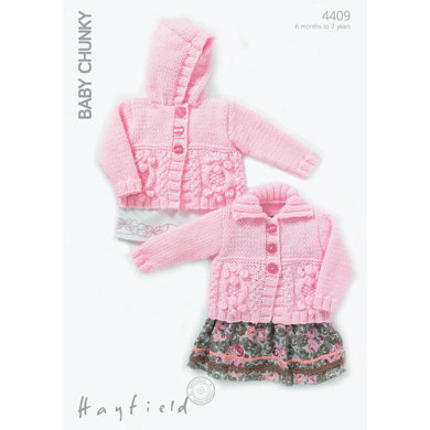 Cardigans with or without a Hoodie in Hayfield Baby Chunky - 4409