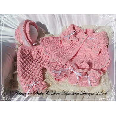 """'Pearly Princess' knitting pattern for 16-22"""" doll/newborn/0-3m baby"""