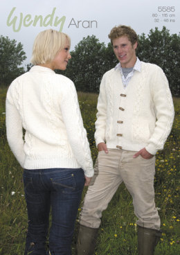 Round and V Neck Double Moss St Jackets in Wendy Aran with Wool - 5585