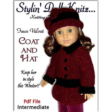 Knitting pattern that fits American Girl and 18 inch dolls. Faux Velvet Coat and Hat.