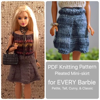 Curvy Barbie Pleated Skirt All Sizes Knitting Pattern By Mettacreative