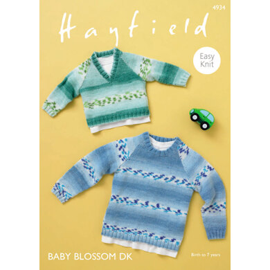 Raglan Sweaters in Hayfield Baby Blossom DK - 4934 - Downloadable PDF