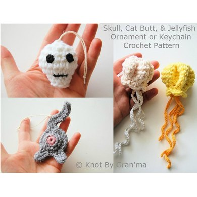 Skull, Jellyfish, and Cat Butt Ornaments or Keychains PDF Crochet Patterns