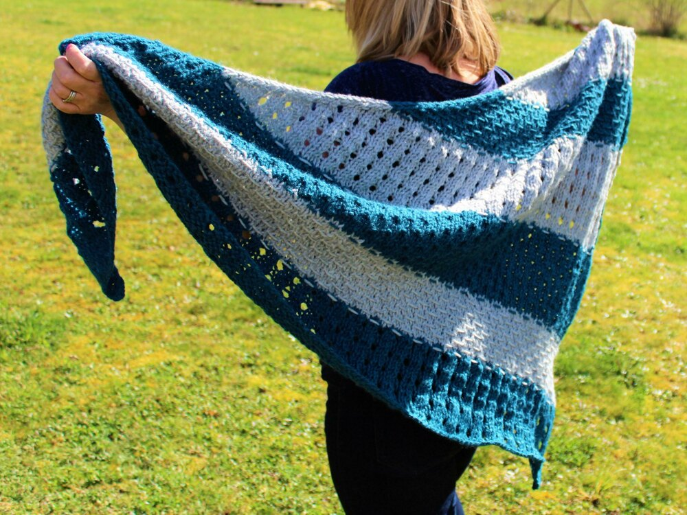 Bluebell Textured Triangle Shawl Knitting Pattern By Willow Tree