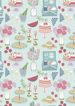 Lewis & Irene Picnic in the Park Picnic Light Blue Fabric Cut to Length