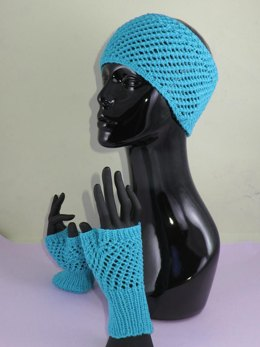 Easy Lace Fingerless Gloves and Headband Set