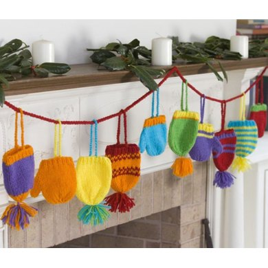 Bright Hats and Mitts Garland in Red Heart Super Saver Economy Solids - LW2658