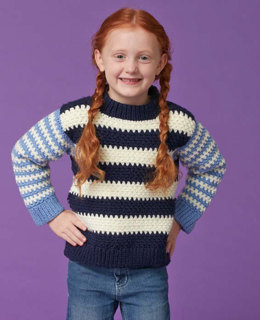 Duo Stripes Kids Pullover in Caron United - Downloadable PDF